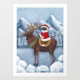 Christmas Cat and Moose Art Print