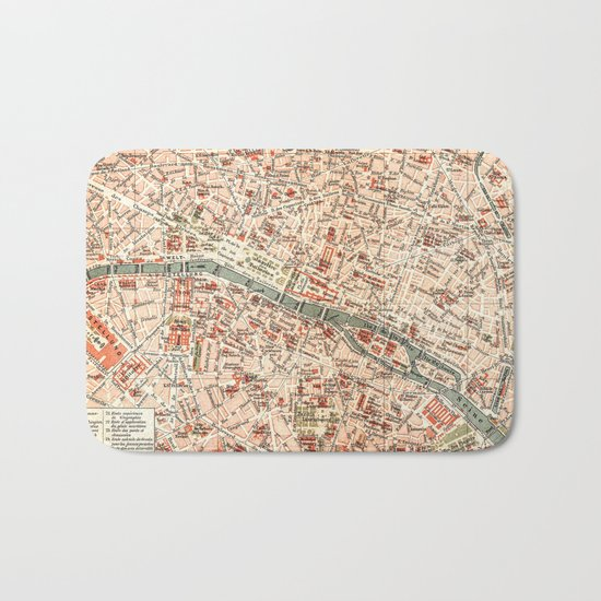 Vintage Map of Paris Bath Mat