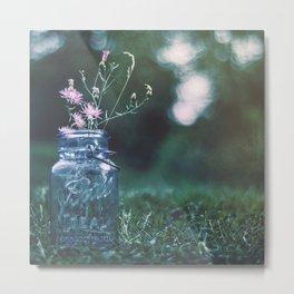 Mason Jar Wildflowers Metal Print