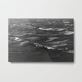 Black and white photo of a stormy sea Metal Print