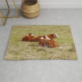 Cows Resting in Pasture Rug