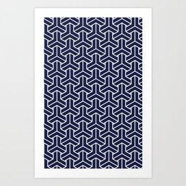 Japanese Yukata Jinbei Bishamon Navy pattern Art Print