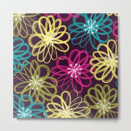 Drybrush Floral Metal Print