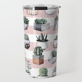 Potted Cactus Stripes Pink Rose Gold Travel Mug