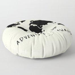 Adventure Map - Vintage Black Floor Pillow