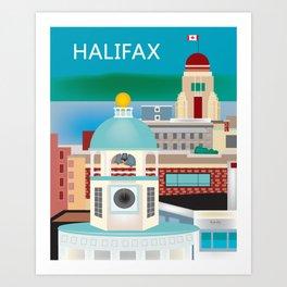 Halifax, Nova Scotia, Canada - Skyline Illustration by Loose Petals Art Print