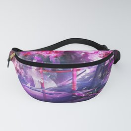 Awesome Asian Temple Gate And Cherry Trees Violet Shade Ultra High Resolution Fanny Pack