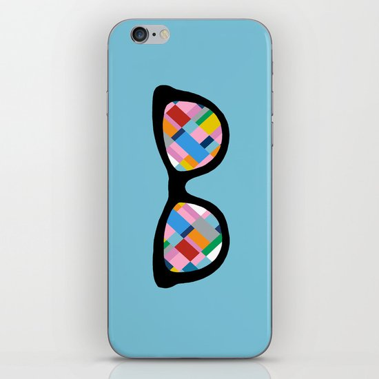 Map 45 Glasses on Sky Blue iPhone & iPod Skin