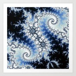 Three Blue Stars - fractal design Art Print