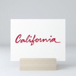California License Plate Font Palm Trees Sunset Beach Mini Art Print