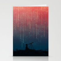 night Stationery Cards featuring Meteor rain by Picomodi