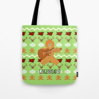 ed sheeran Tote Bags featuring Gingerbread Ed II by Laura Maria Designs