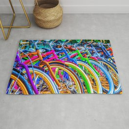 Colorful bicycles in a row Rug