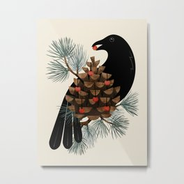 Bird & Berries Metal Print