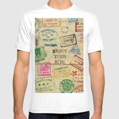 Travel, Stamps. World Mens Fitted Tee MEDIUM White