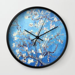 Vincent Van Gogh Almond Blossoms. Sky Blue Wall Clock
