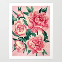 peonies Art Prints featuring Peonies by Lynette Sherrard Illustration and Design