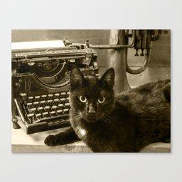 Black cat and vintage typewriter  Canvas Print