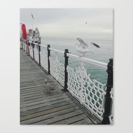 Seaguls on the pier Canvas Print