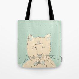 Cartoon cute cat think Tote Bag