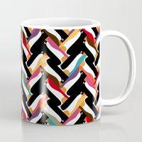 herringbone Mugs featuring herringbone penguin by Sharon Turner