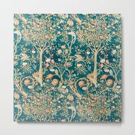 William Morris Vintage Melsetter Teal Blue Green Floral Art Metal Print