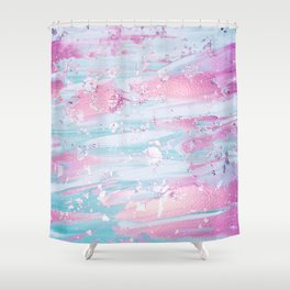 Shine Shimmer Pastel Pink and Blue Modern Shower Curtain