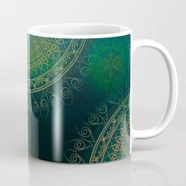 """Dark Clover Green & Gold Mandala Deluxe"" Coffee Mug"