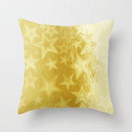 Golden Starshine Throw Pillow