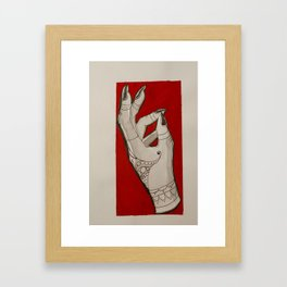 Hand of Fate -Red Color Block Henna Tattoo Girl Witch Hand Framed Art Print