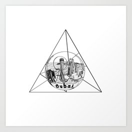 Graphic Geometric Shape Gray Dubai in a Bottle Art Print