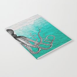 Antique Nautical Steampunk Octopus Vintage Kraken sea monster ombre turquoise blue pastel watercolor Notebook
