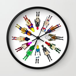 Superhero Butts - Girls - Row Version - Superheroine Wall Clock