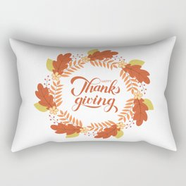 Happy Thanksgiving calligraphy lettering autumn wreath  Rectangular Pillow