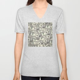 Collage of Currency Graphic Unisex V-Neck