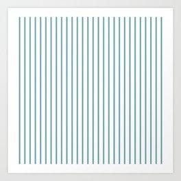 Hydrangea Blue Pinstripe on White Art Print