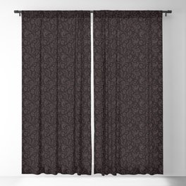 Chocolate Plum on Blackberry Syrup Floral Swirls Pattern Blackout Curtain
