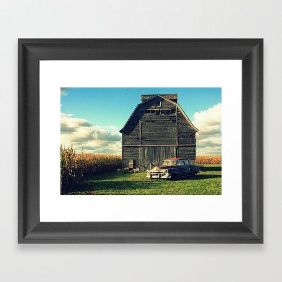 Caddie and Barn Framed Art Print
