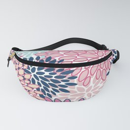 Festive, Floral Prints, Pink and Navy Blue Fanny Pack