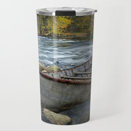 Canoe on the Thornapple River in Autumn Travel Mug