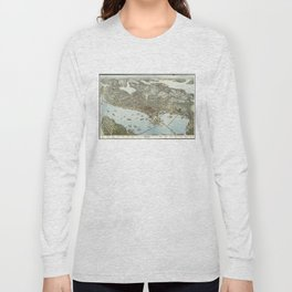 Vintage Pictorial Map of Seattle Washington (1891) Long Sleeve T-shirt