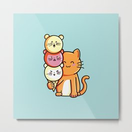 Kawaii Cute Cat and Micecream Metal Print