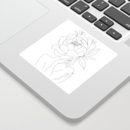 Minimal Line Art Woman Flower Head Sticker