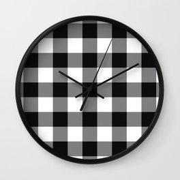 Black Gingham Pattern Wall Clock