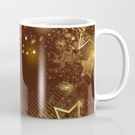 Brown background with golden stars Coffee Mug