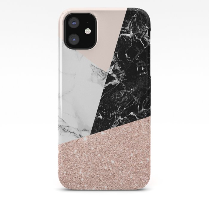 Black white marble blush pink rose gold glitter color block iPhone Case
