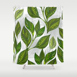 Seamless Pattern with Green Tea Leaves Shower Curtain