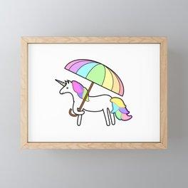Cute Fun Rainbow Unicorn Framed Mini Art Print