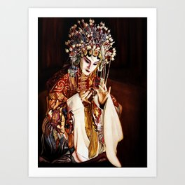 LESLIE CHEUNG in Farewell my Concubine, Chinese Opera portrait, Watercolor painting Art Print