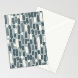 Morningside Heights Mid Mod Pattern in Light Blue-Gray and Cream Stationery Cards